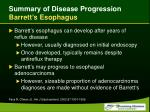 summary of disease progression barrett s esophagus