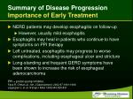 summary of disease progression importance of early treatment