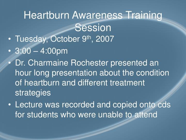 Heartburn awareness training session