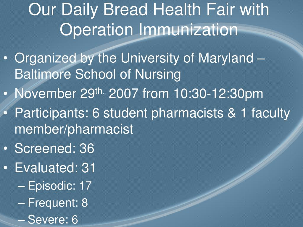 Our Daily Bread Health Fair with Operation Immunization
