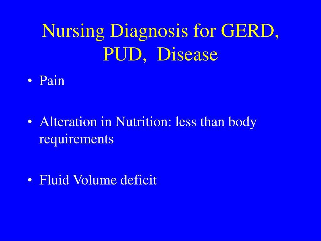 Nursing Diagnosis for GERD, PUD,  Disease