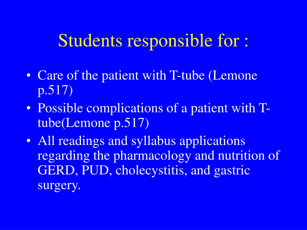 Students responsible for :