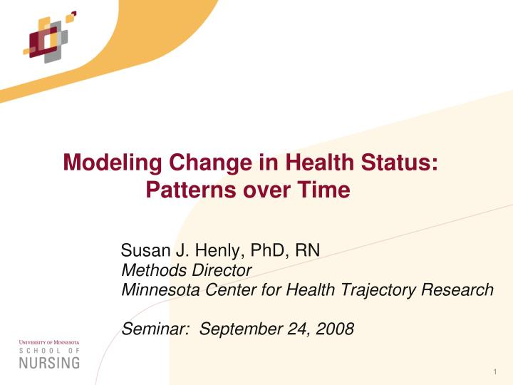 modeling change in health status patterns over time n.