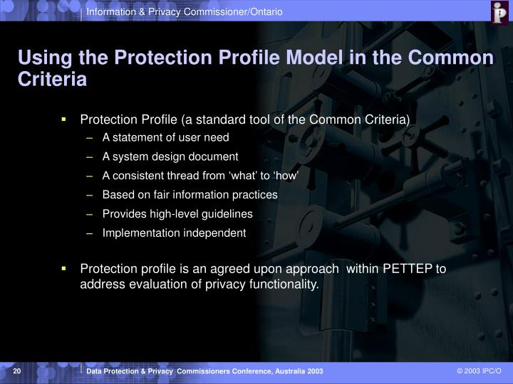 Using the Protection Profile Model in the Common Criteria