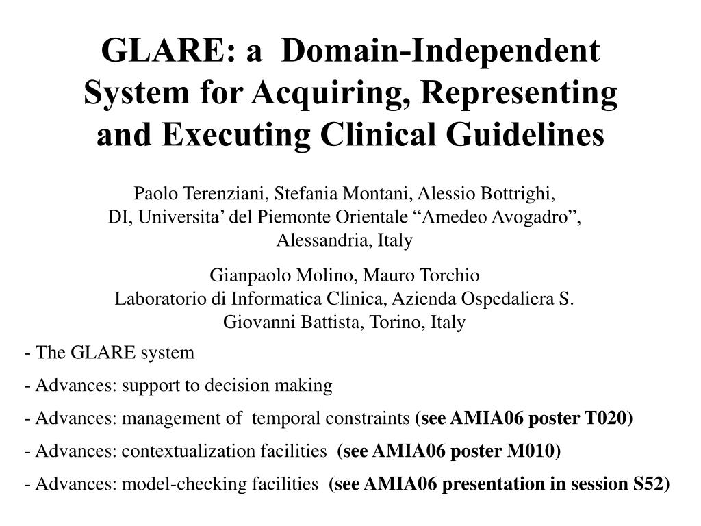 glare a domain independent system for acquiring representing and executing clinical guidelines l.