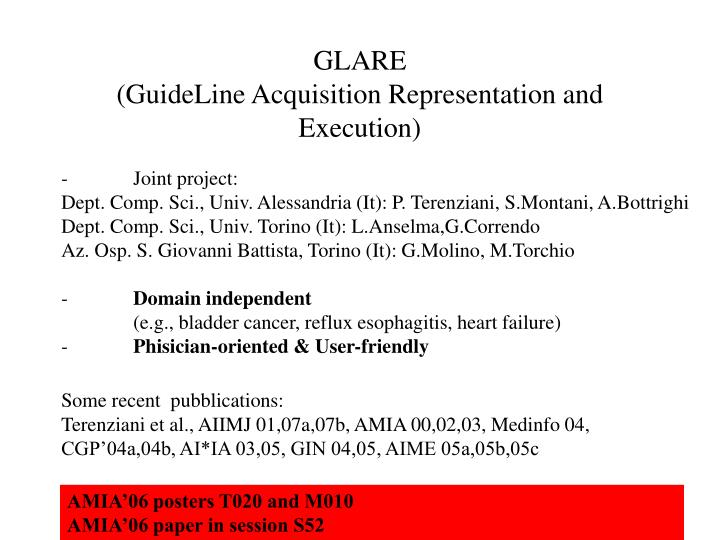 Glare guideline acquisition representation and execution