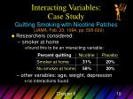interacting variables case study