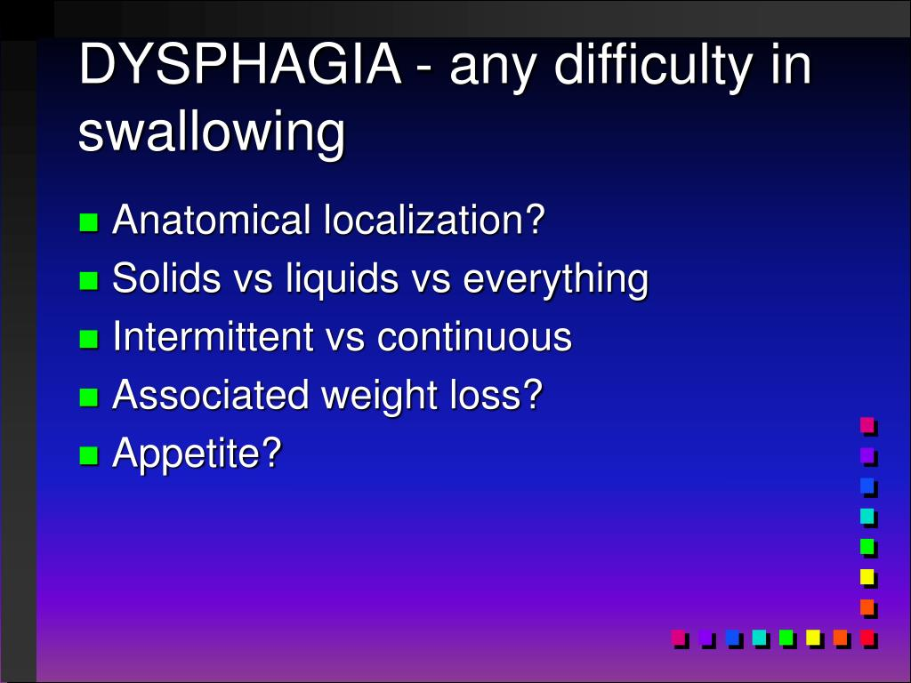 DYSPHAGIA - any difficulty in swallowing