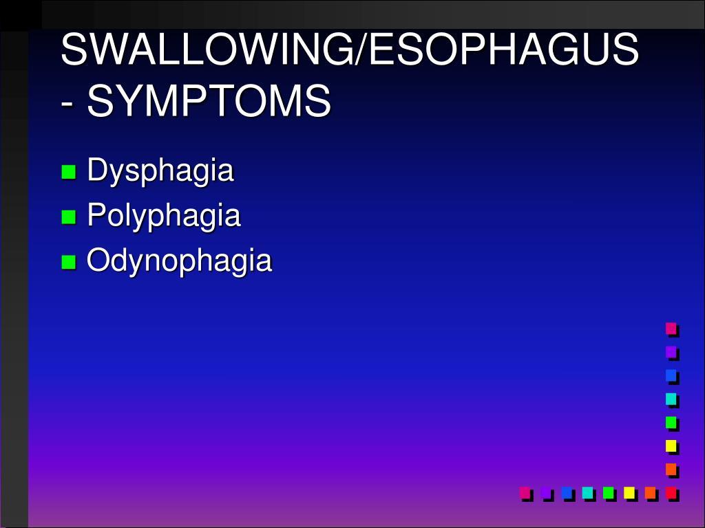 SWALLOWING/ESOPHAGUS - SYMPTOMS