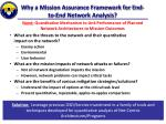 why a mission assurance framework for end to end network analysis
