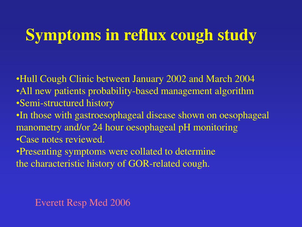 Symptoms in reflux cough study