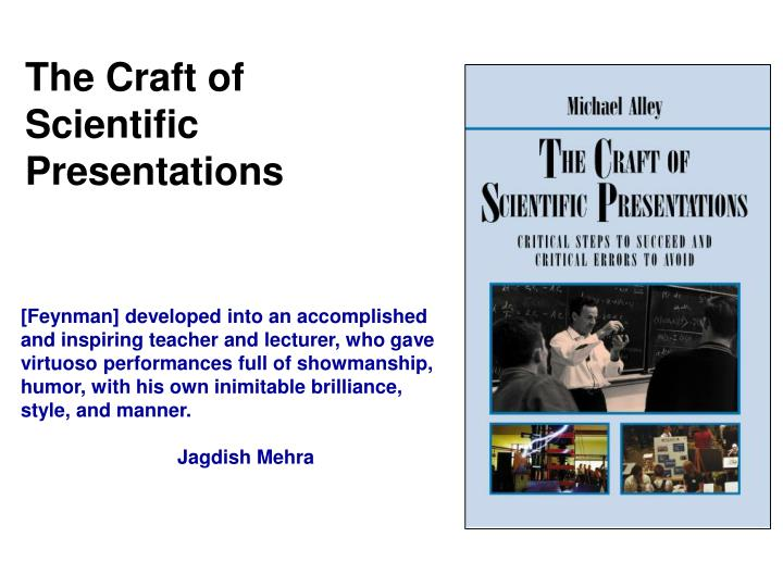the craft of scientific presentations n.