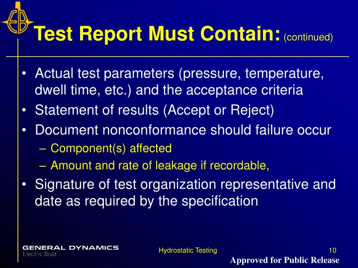 Test Report Must Contain: