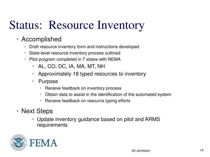 Status:  Resource Inventory