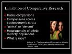 limitation of comparative research