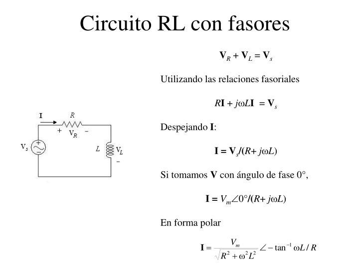Circuito RL con fasores