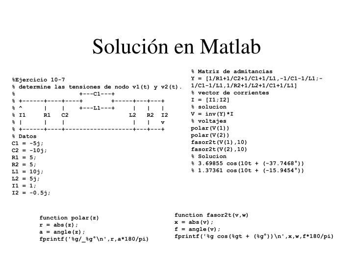 Solución en Matlab