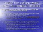 things that can help when faced with conduct disorder