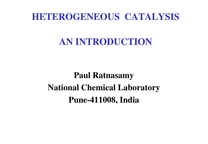 heterogeneous catalysis an introduction n.