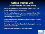 getting traction with local needs assessment