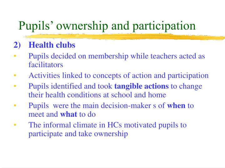 Pupils' ownership and participation