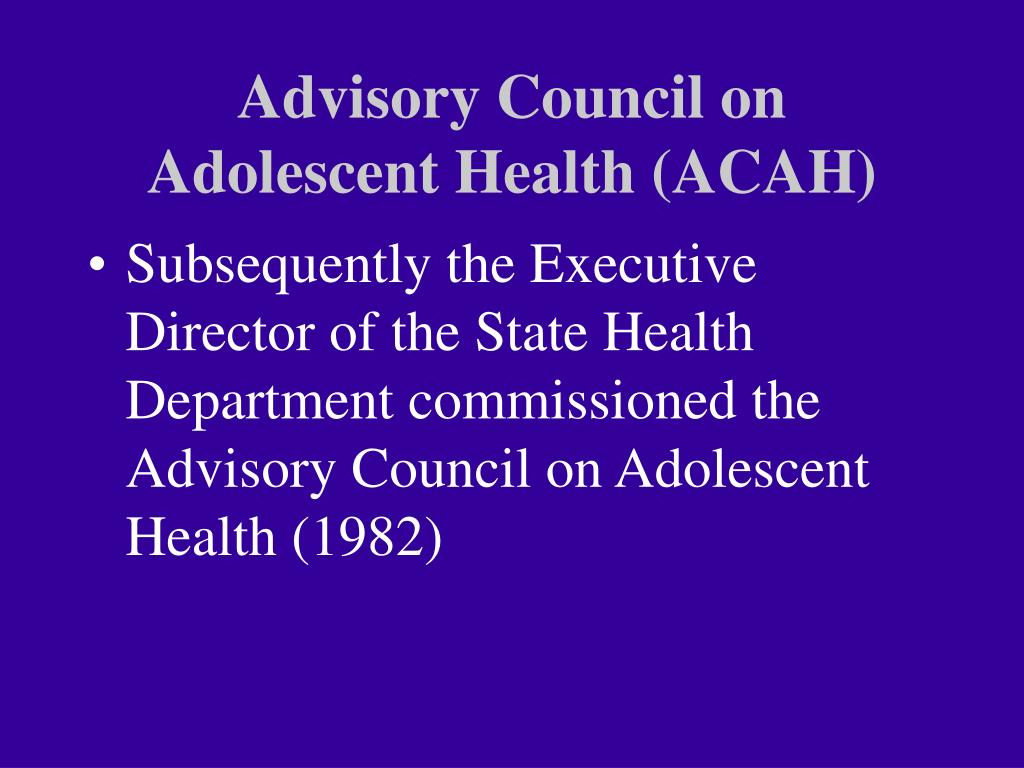 Advisory Council on Adolescent Health (ACAH)