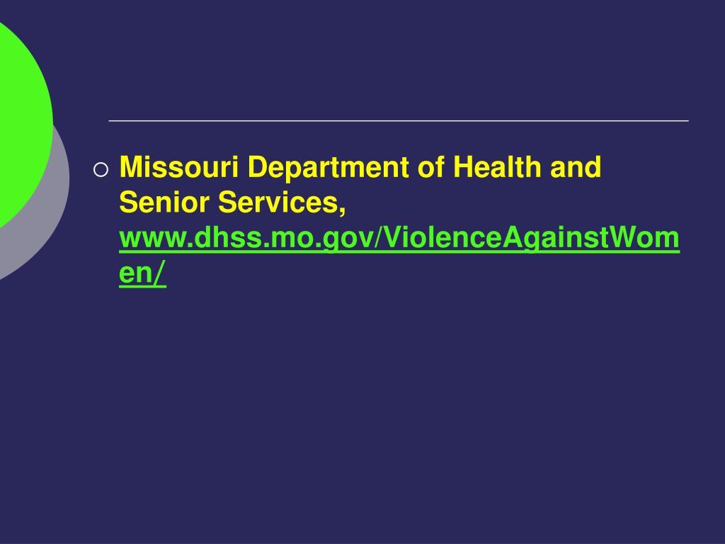 Missouri Department of Health and Senior Services,