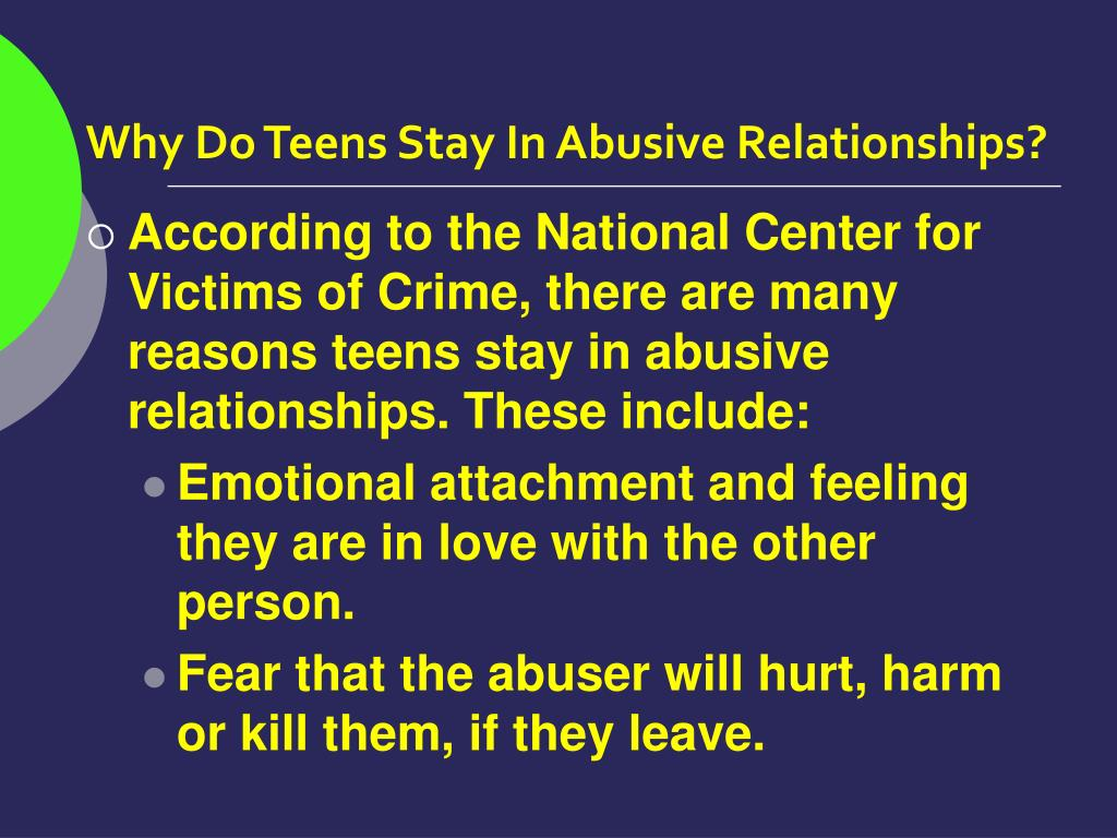 Why Do Teens Stay In Abusive Relationships?