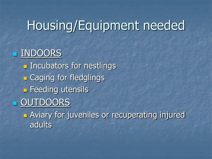 Housing/Equipment needed