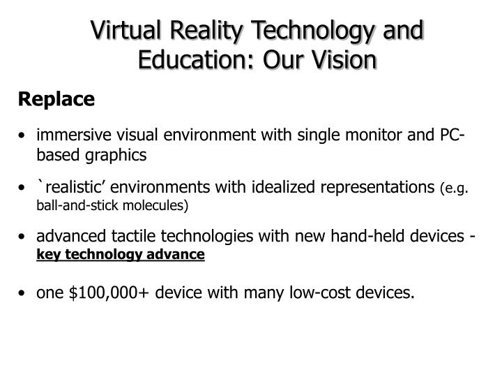 Virtual Reality Technology and Education: Our Vision