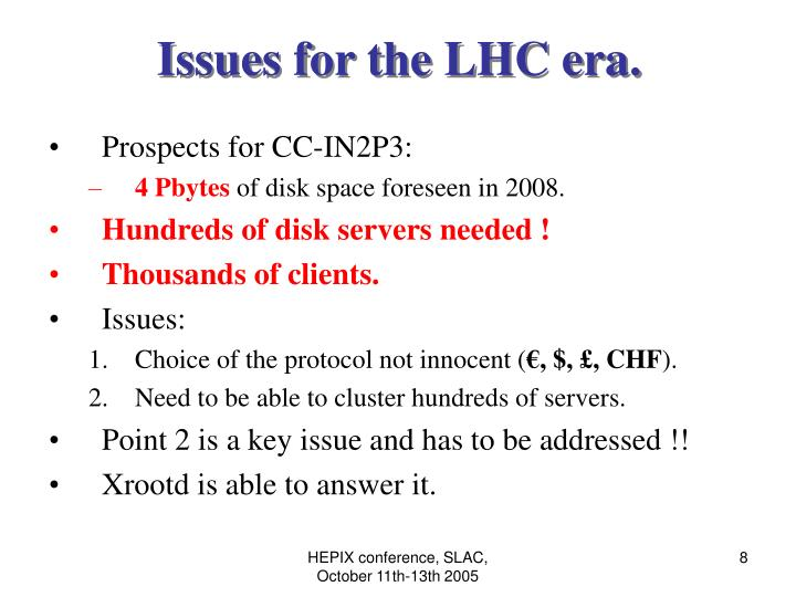 Issues for the LHC era.