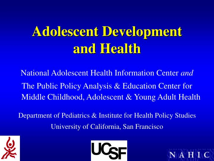 adolescent development and health n.