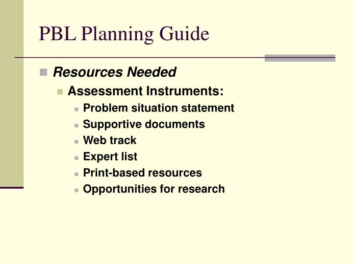 PBL Planning Guide