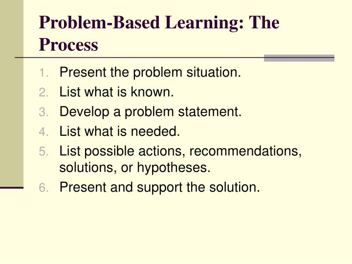 Problem-Based Learning: The Process