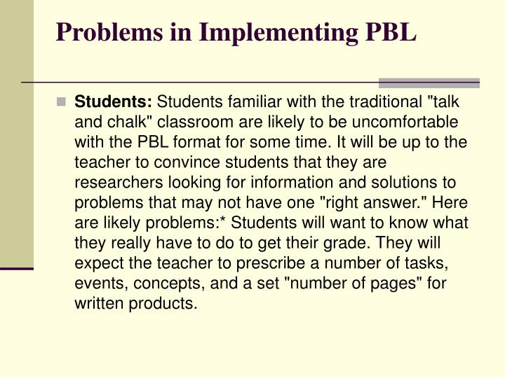 Problems in Implementing PBL