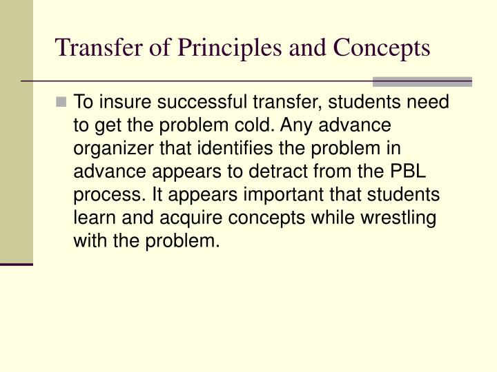 Transfer of Principles and Concepts