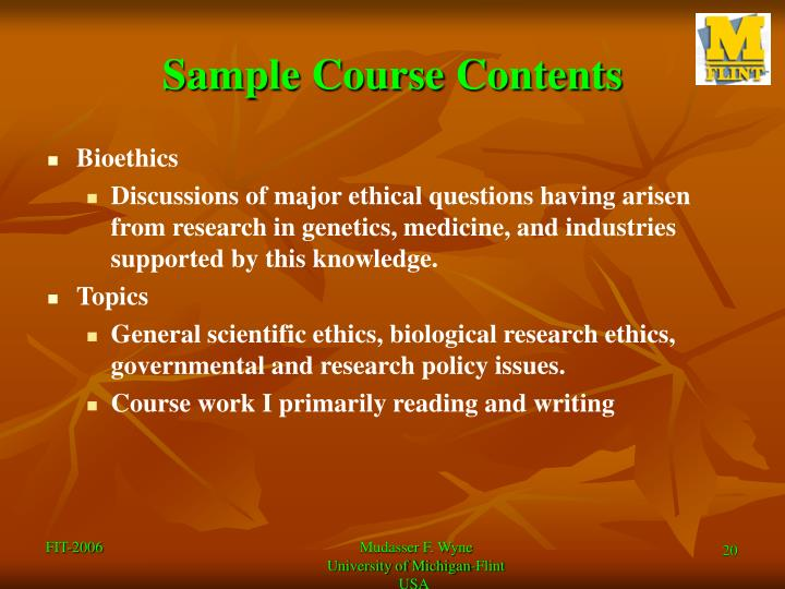 Sample Course Contents