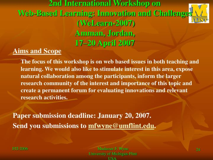 2nd International Workshop on