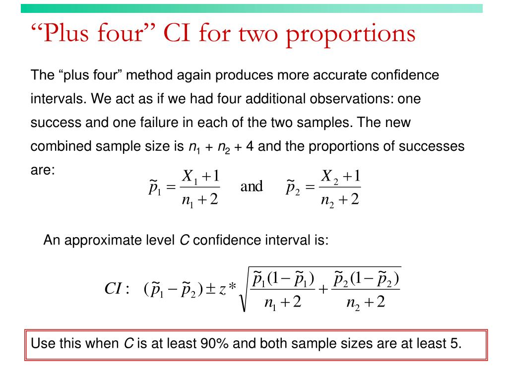 """""""Plus four"""" CI for two proportions"""