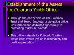 establishment of the assets for colorado youth office