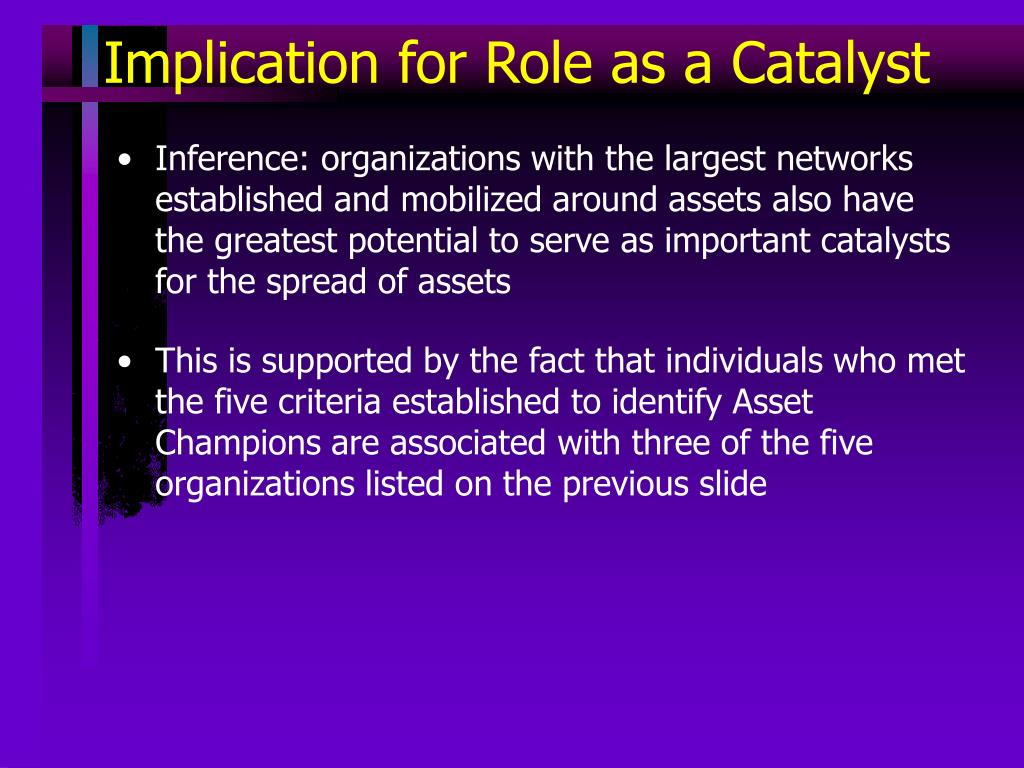 Implication for Role as a Catalyst