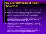 key characteristics of asset champions
