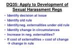 dq35 apply to development of sexual harassment regs