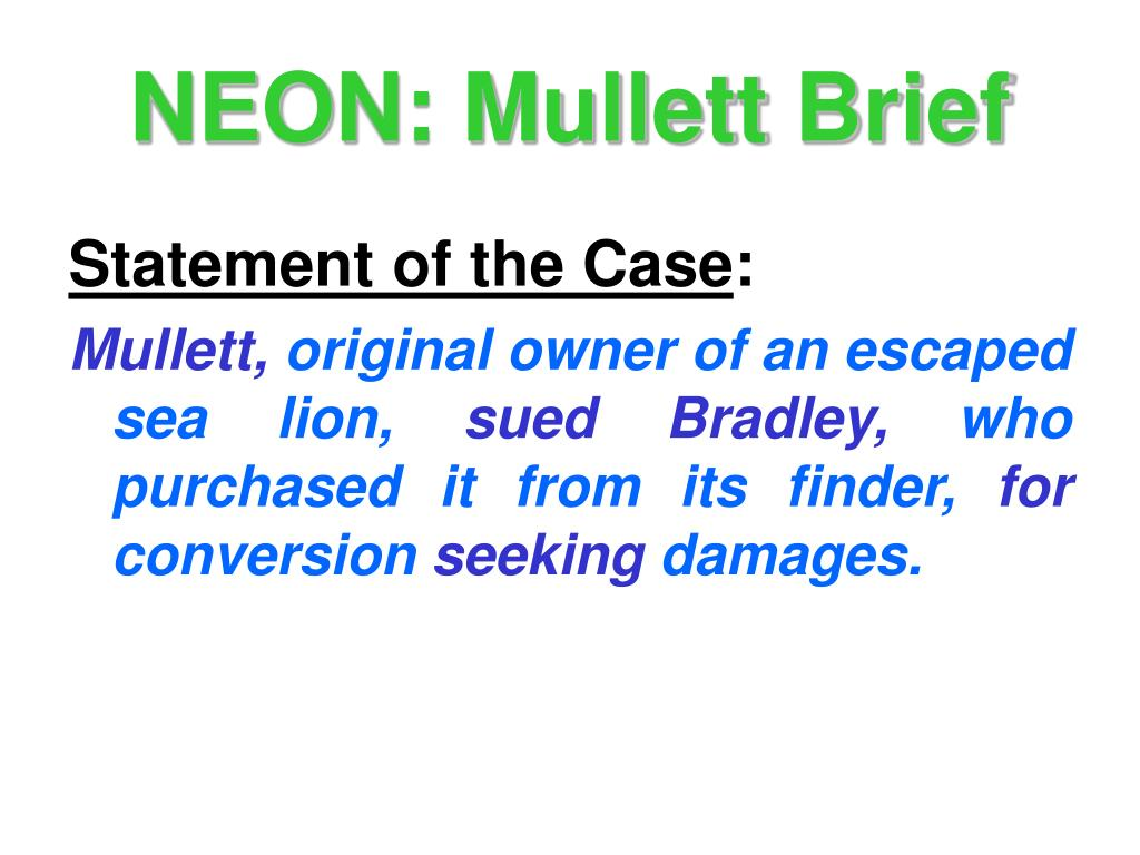NEON: Mullett Brief
