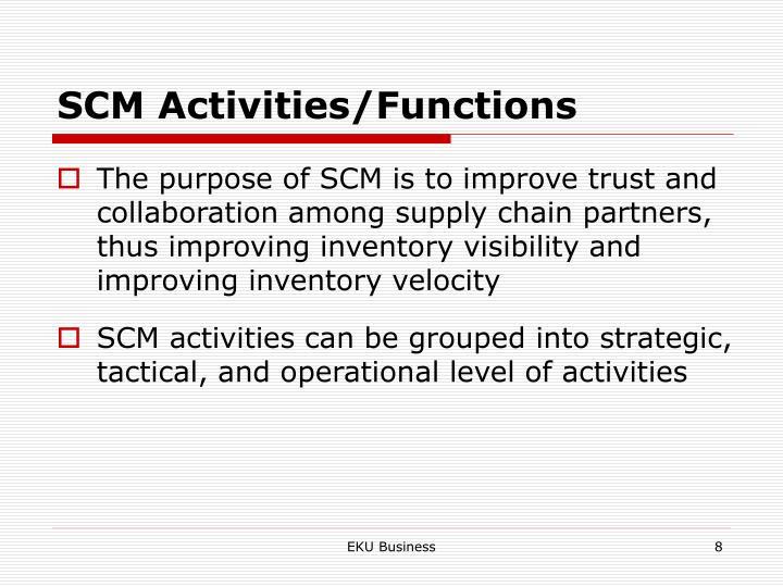 SCM Activities/Functions