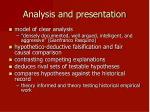 analysis and presentation