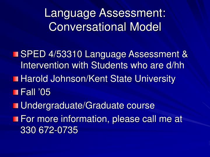 Language assessment conversational model