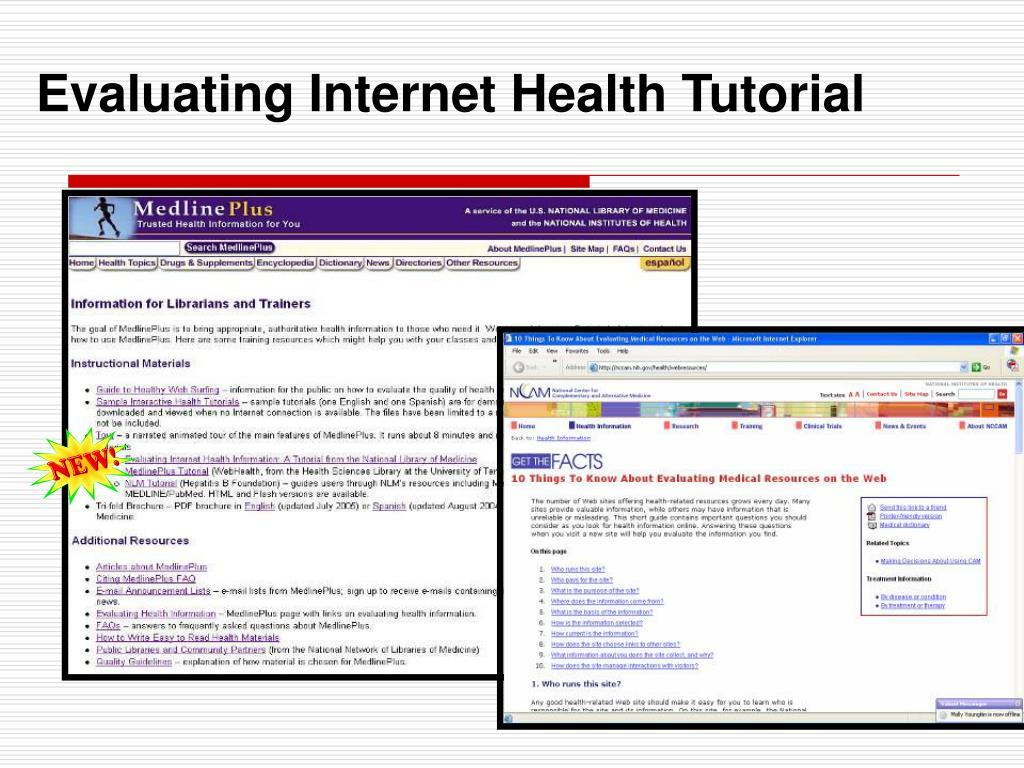 Evaluating Internet Health Tutorial