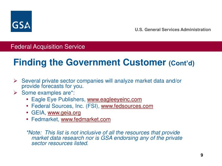 Finding the Government Customer