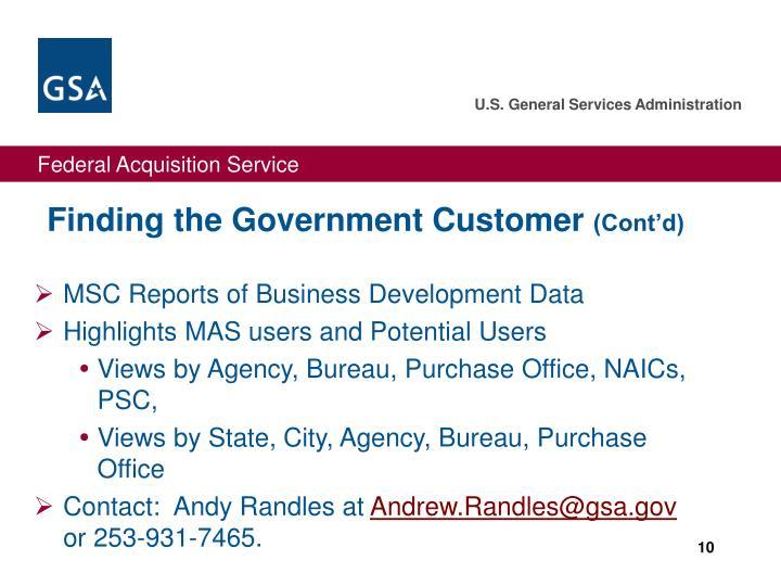 MSC Reports of Business Development Data